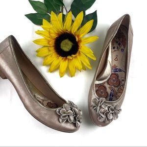 Born Metallic Floral Flats Slip On Leather